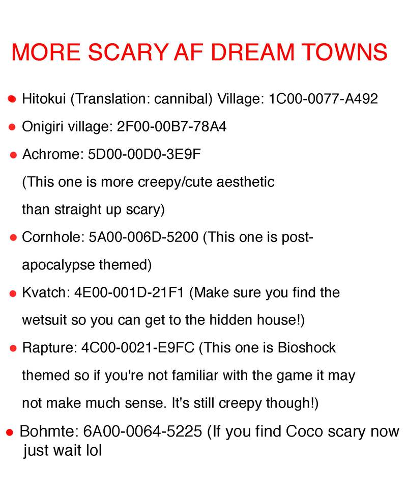 Acnl horror dream towns 2019